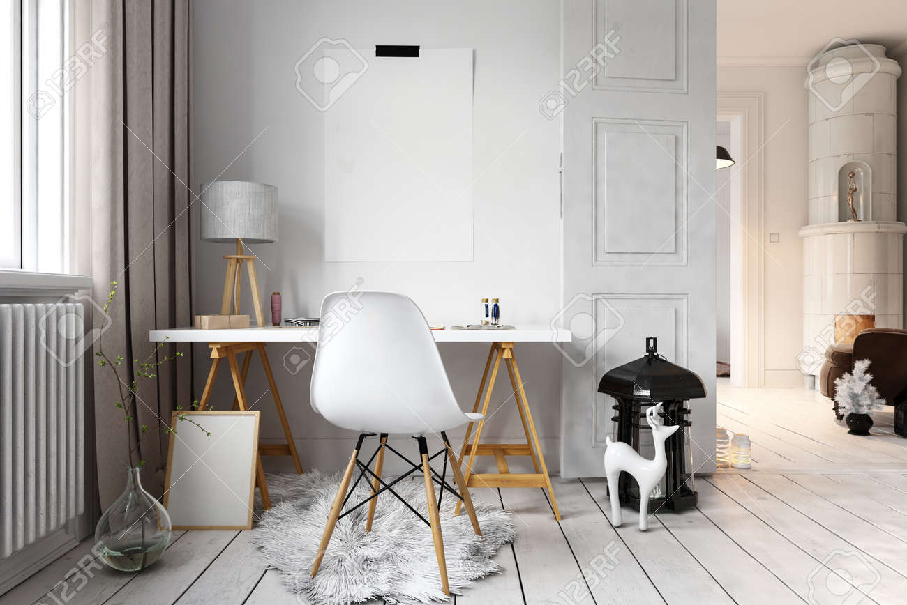 Cute hipster loft with little reindeer sculpture beside simple desk and chair. 3D rendering - 62734370