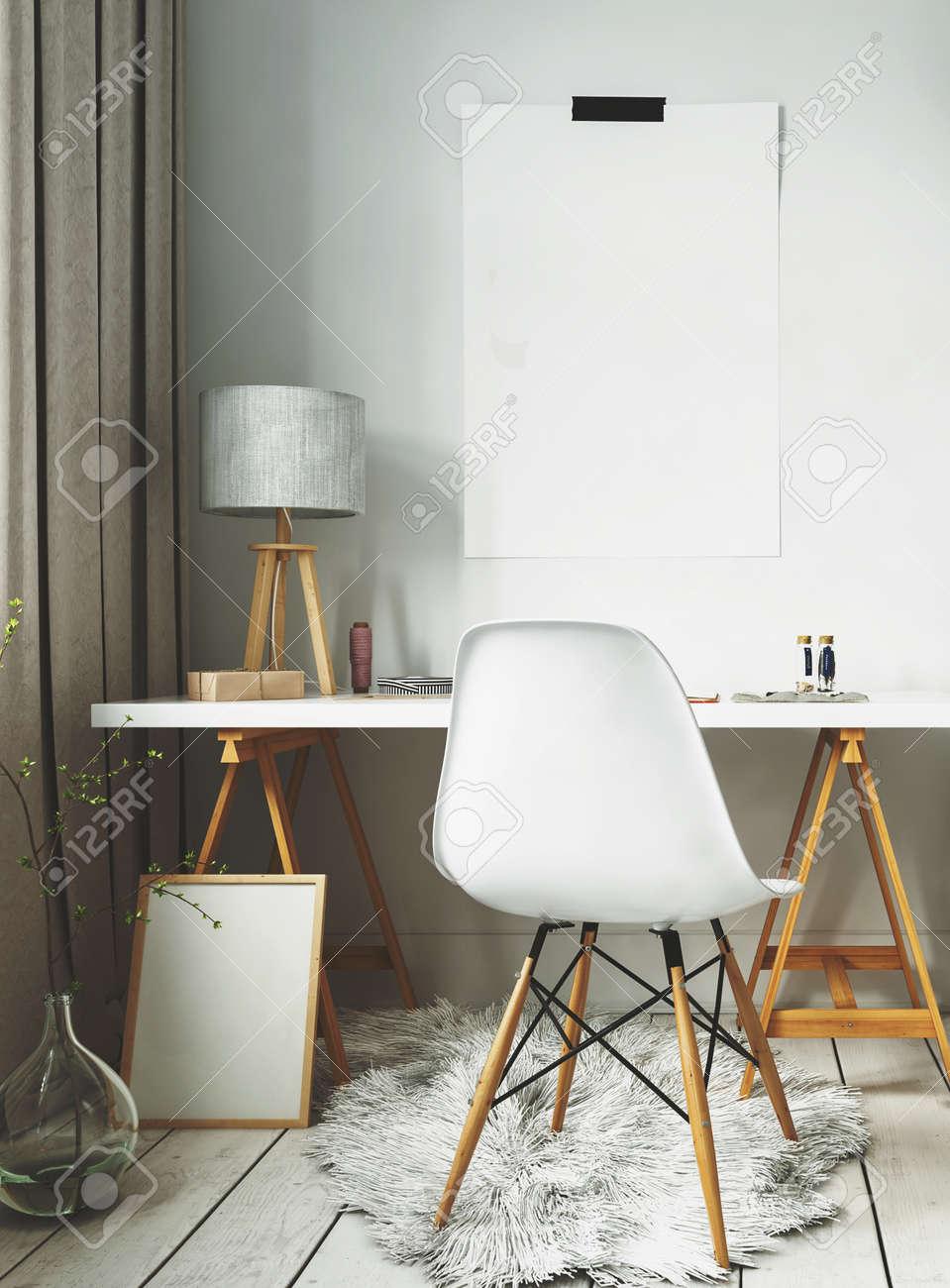 White fur rug and simple desk of modern Scandinavian interior design. 3d Rendering. Standard-Bild - 62734376