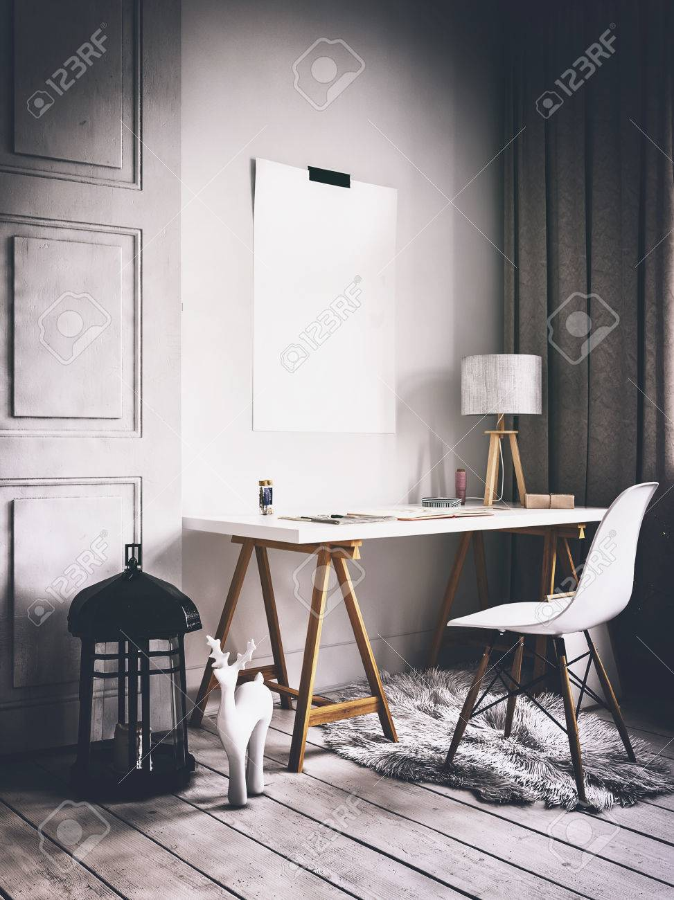 scandinavian home office. 3D Rendering Of Modern Scandinavian Style Home Office With Blank Poster On Wall Beside Desk Stock O