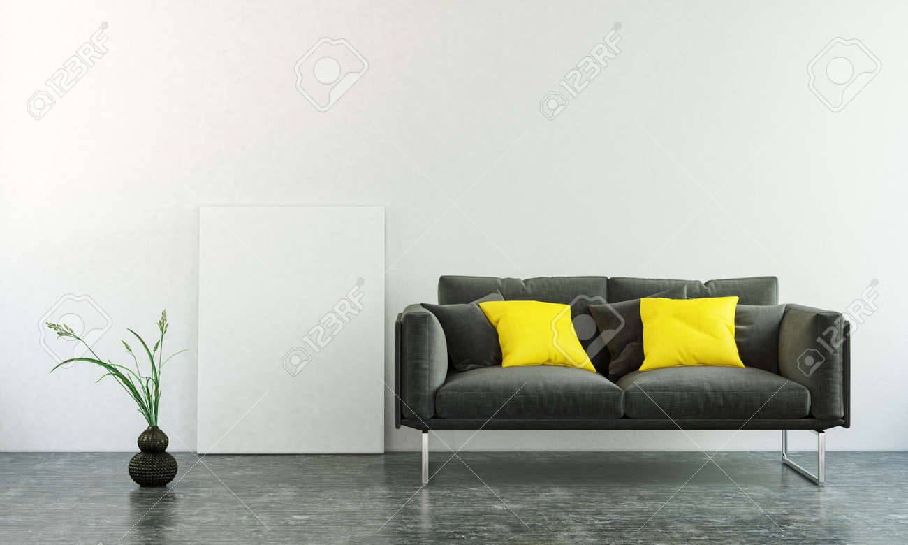 Pleasing 3D Interior Scene Of Black Sofa With Two Square Pillows Plant Machost Co Dining Chair Design Ideas Machostcouk