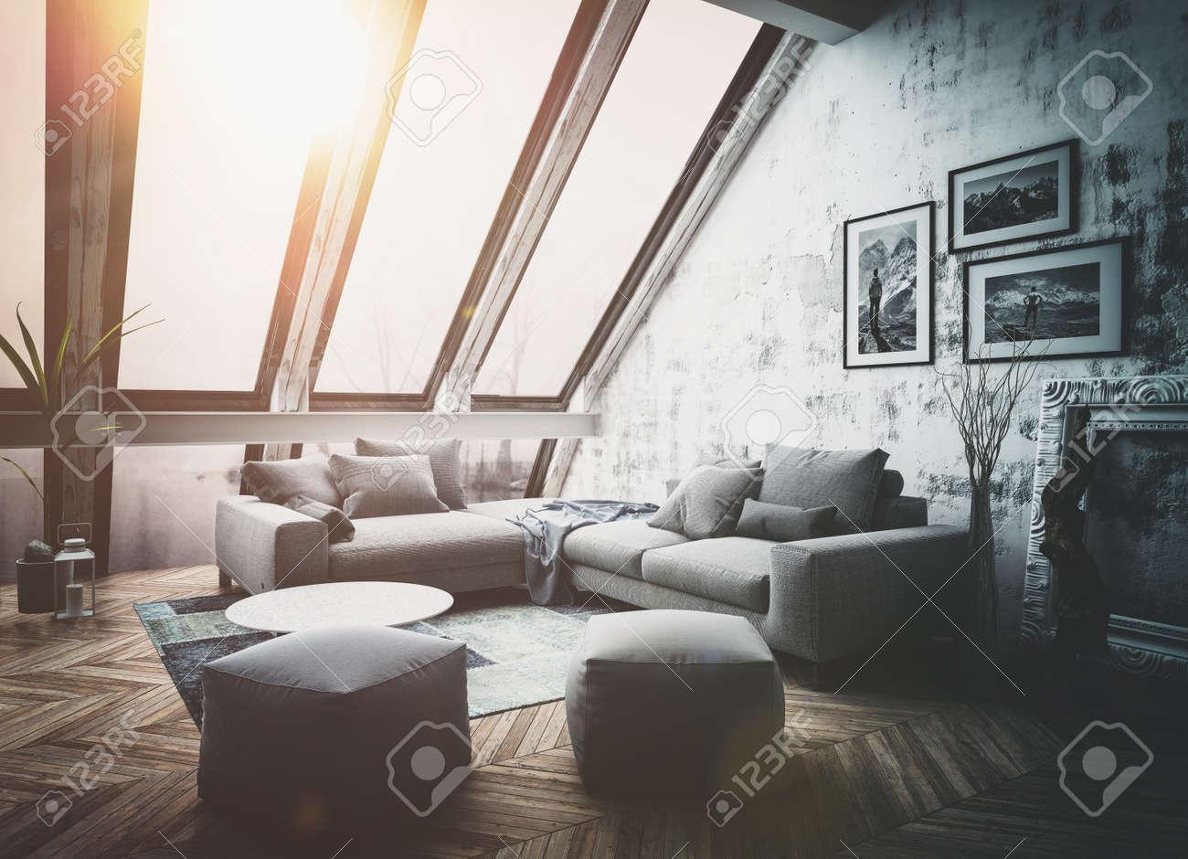 Sunny Dachwohnung Interieur Mit Großen Vertikalen Fenstern, Sofa ...