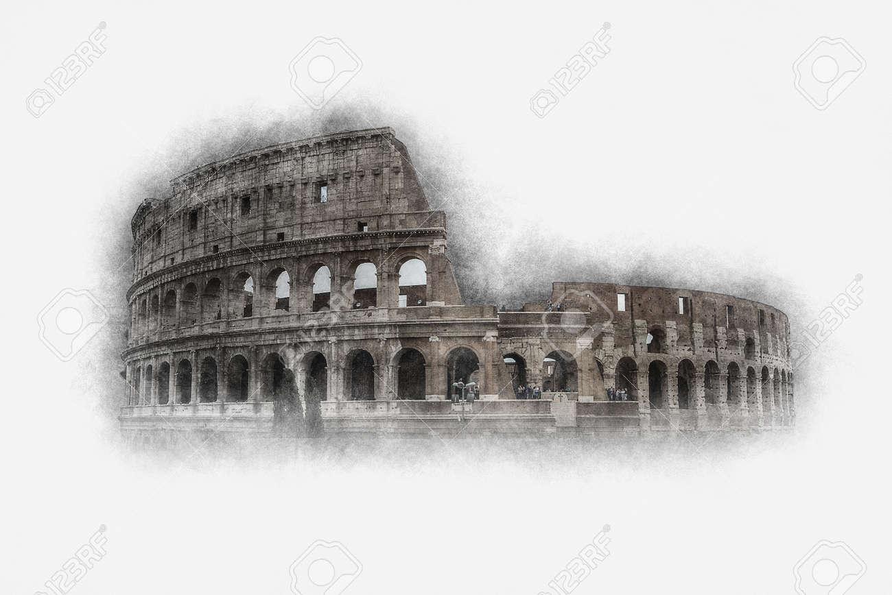 Gebroken Wit Verf : Artistieke vintage verfeffect colosseum rome italië op geweven