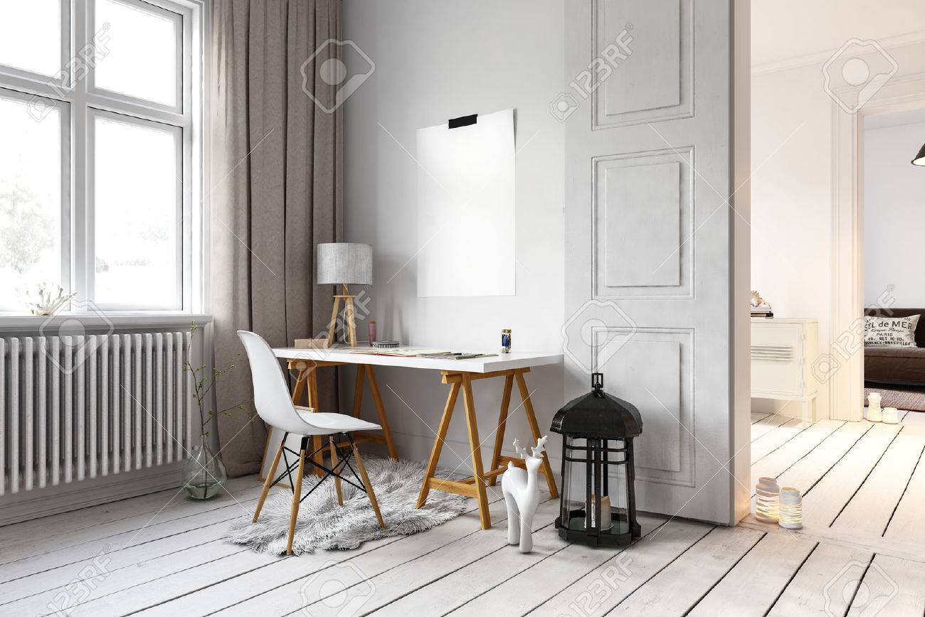 Little desk and chair in residential loft with large lamp on floor and radiators beside windows. 3d Rendering. Standard-Bild - 62734443