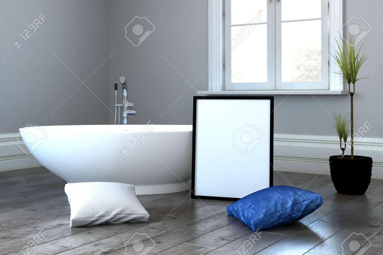 3d Darstellung Von Badewanne Neben Blauen Und Weissen Kissen Auf Dem