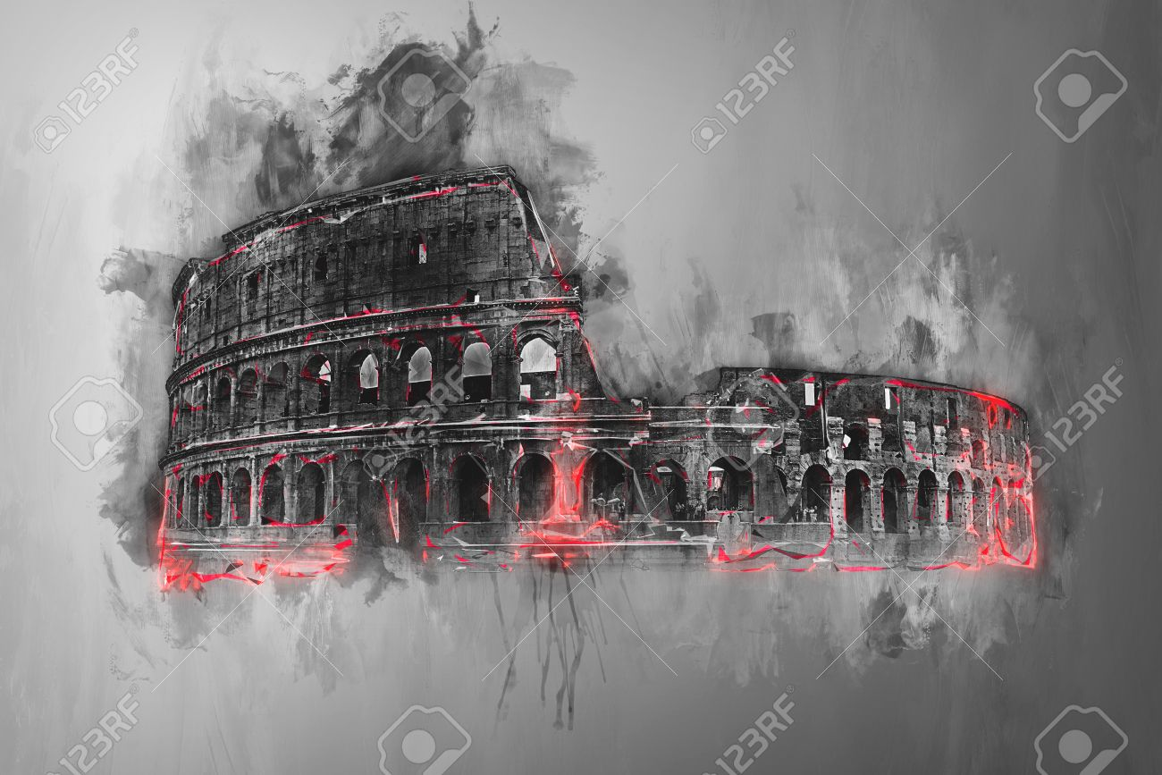 Fine Art Painting Of The Colosseum Rome Italy In Greyscale Stock Photo Picture And Royalty Free Image Image 62734476