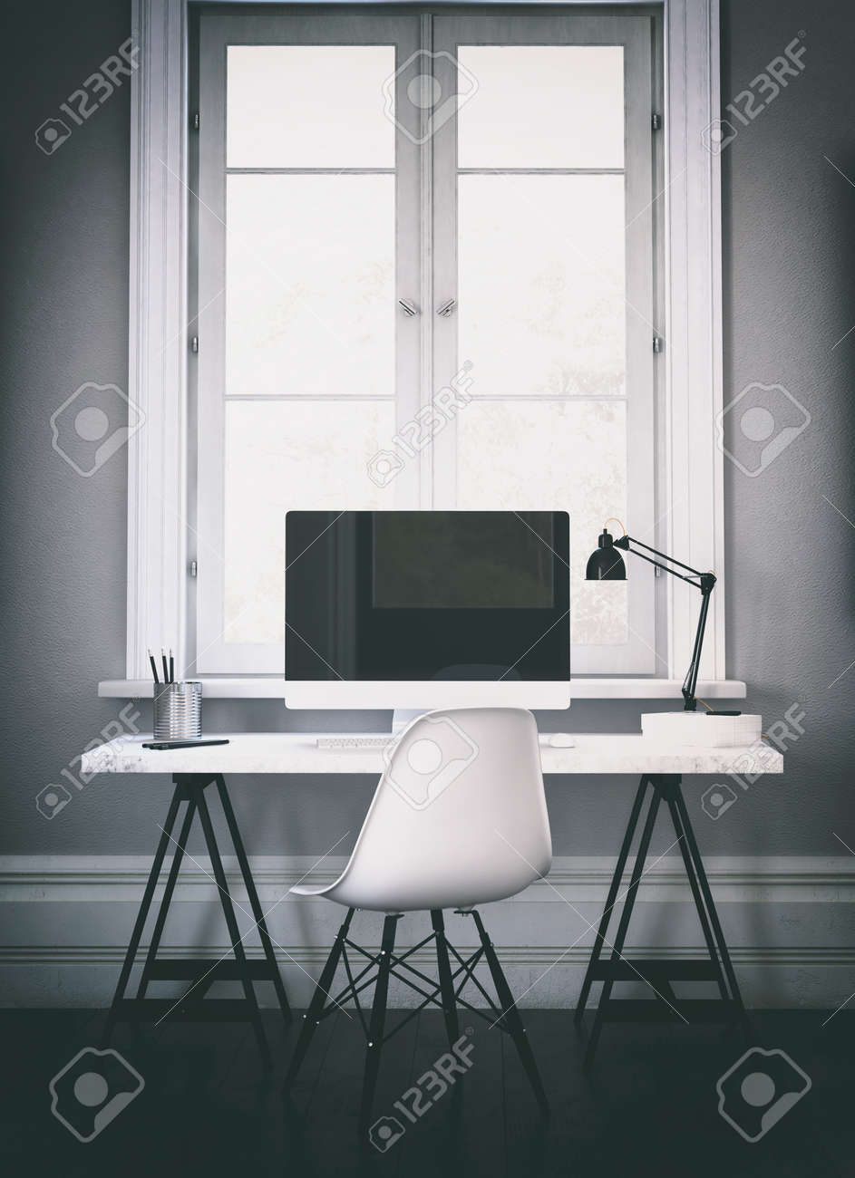 size 40 b39ae 59b34 Vertical 3D rendering of large wide screen computer on desk in..