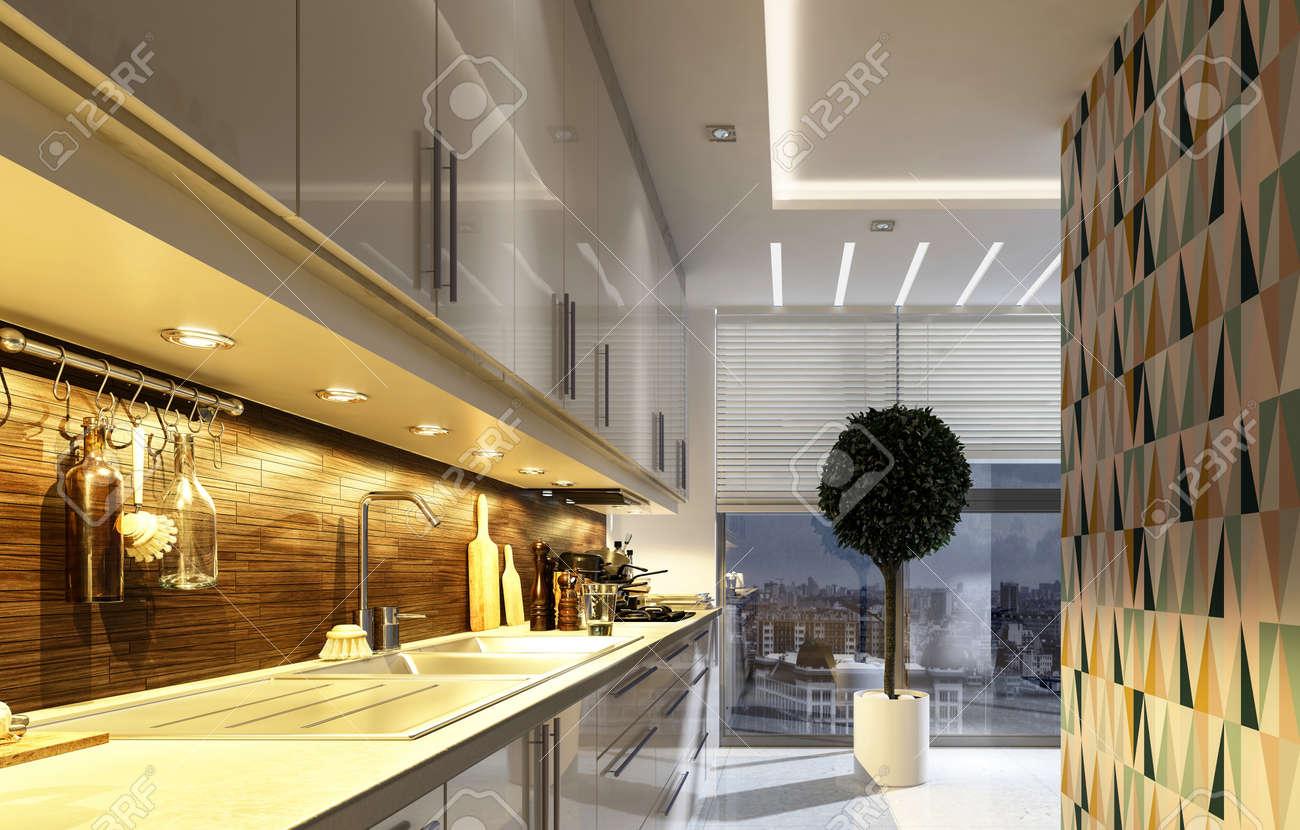 Stilvolle Moderne Küche Mit Geometrischen Akzent Wand, Beleuchtet ...