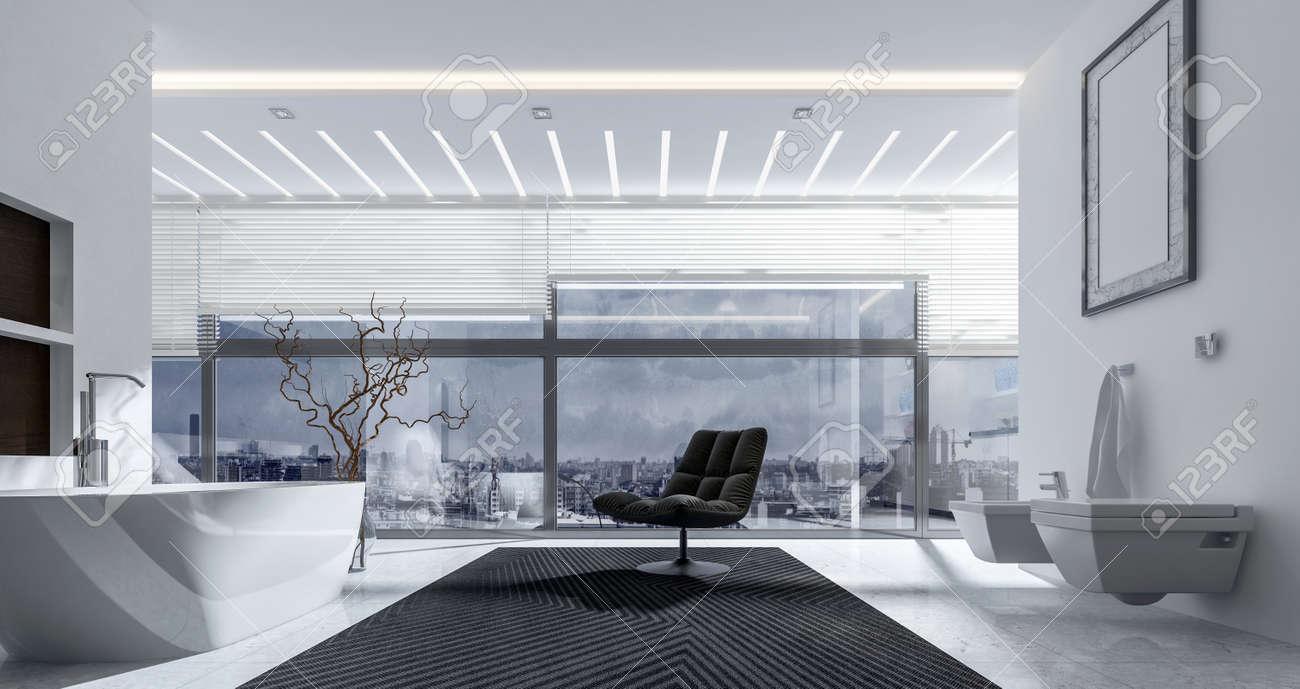 Rendu 3D Interieur De Salle Bain Avec Chaise Baignoire WC
