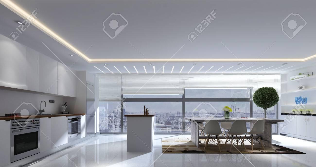 Representación 3D De Cocina Y Comedor Amplia Habitación Con ...