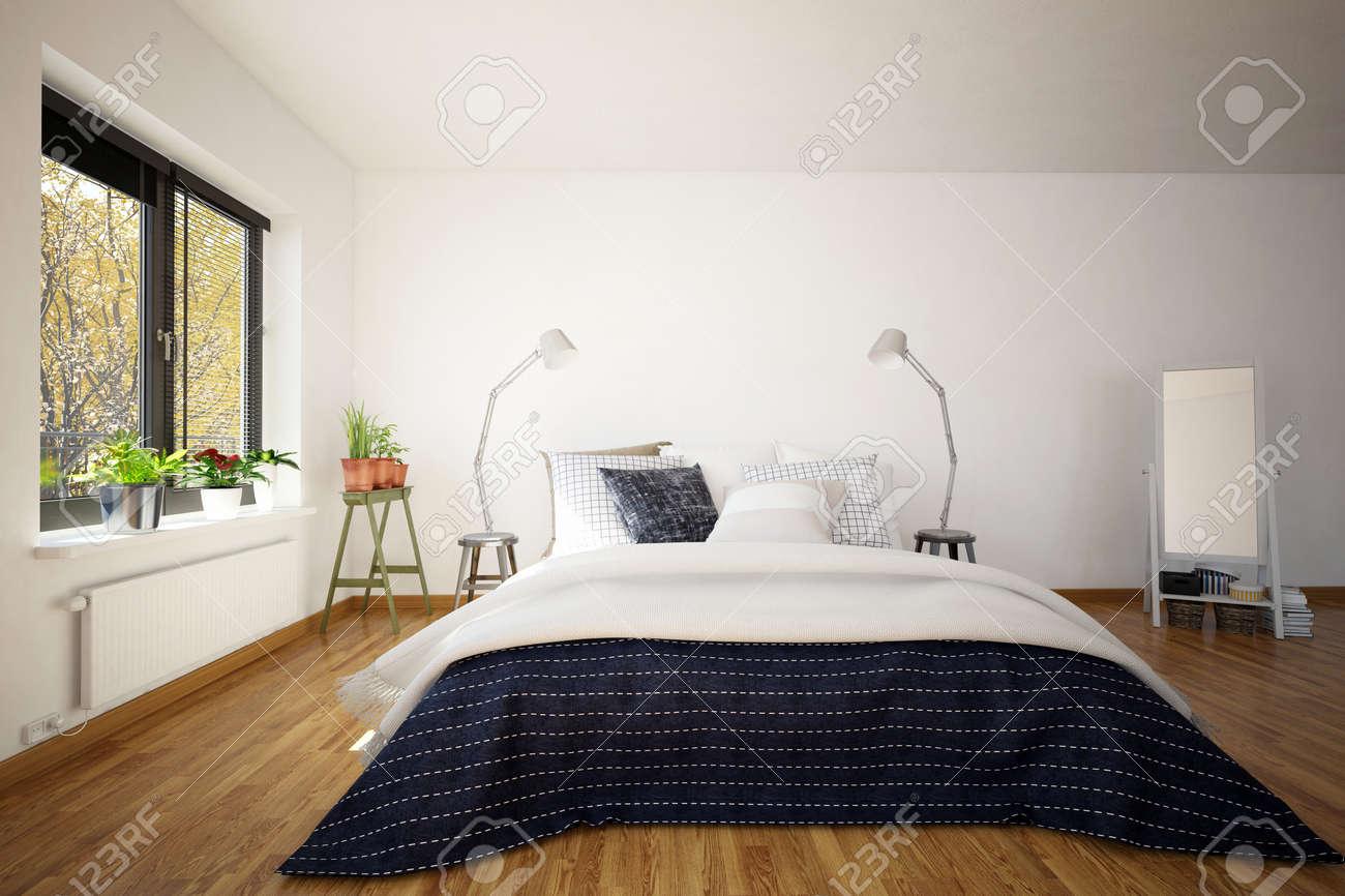 Grande De Matrimonio Sofá-cama En Un Dormitorio Interior Moderno Con ...