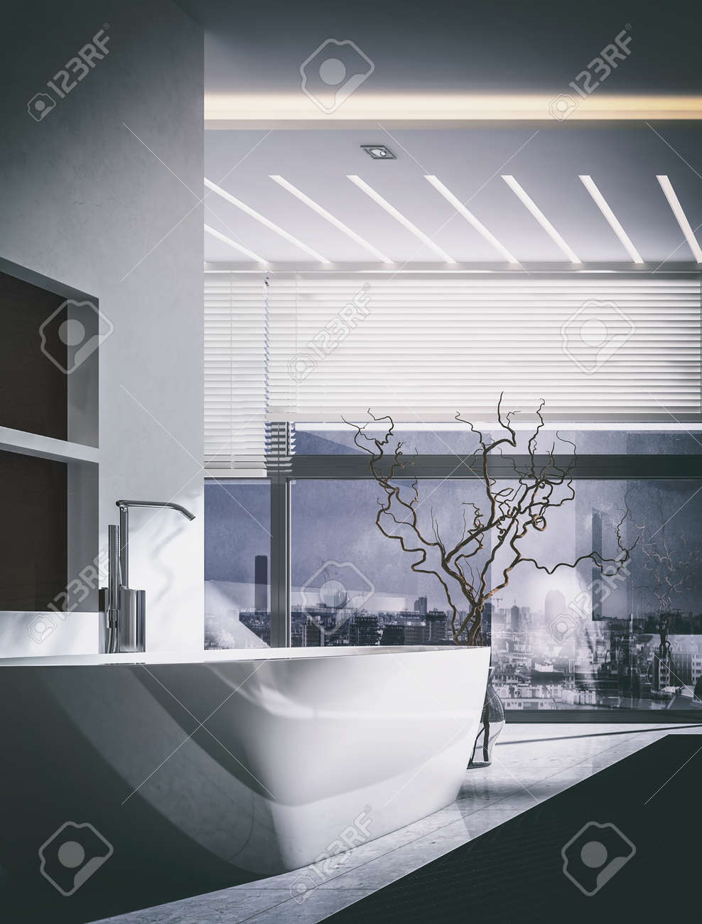 3d rendering interior of luxury modern bathroom with large tub dried wood plant in vase