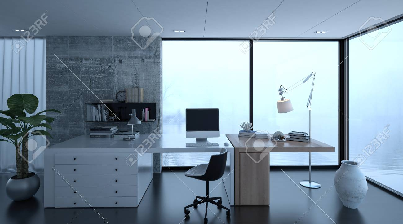 3d rendering of small home office interior at luxury home with..
