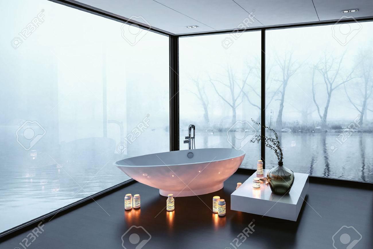 Stunning Modern Bathroom With Panoramic Wrap Around View Windows ...