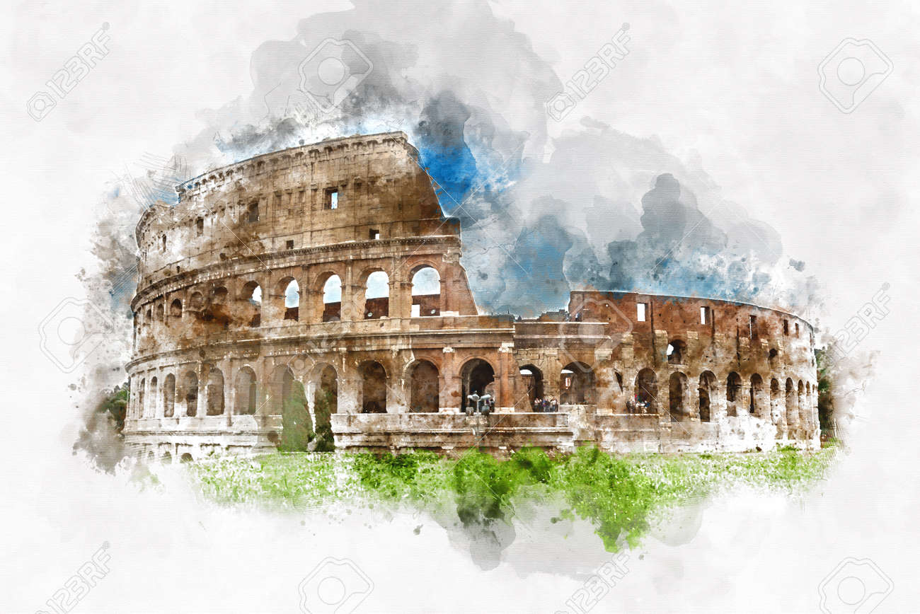 Colored Watercolor Sketch Of The Colosseum Rome Italy With
