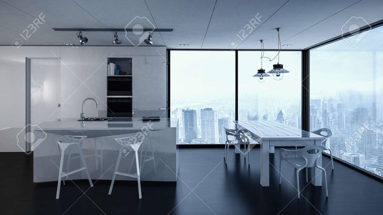3d Rendering Of Condominium Kitchen Interior With Track Lighting ...