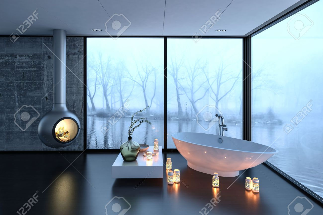 3d Rendering Of Bathtub, Fireplace And Candles In Luxury Bathroom With  Large Fogged Up Windows