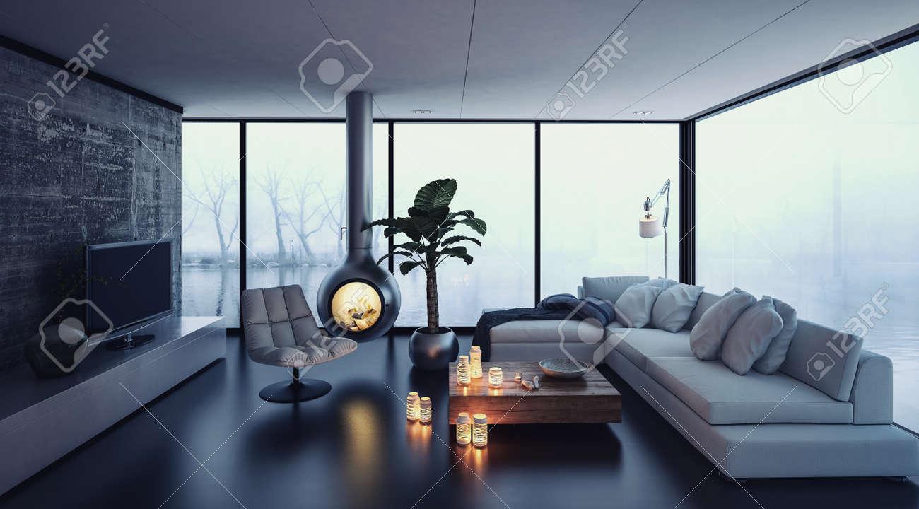 3D Rendering Von Kleinen Kamin Von Der Decke In Der Phantasie Wohnzimmer  Hängen. Fernsehen