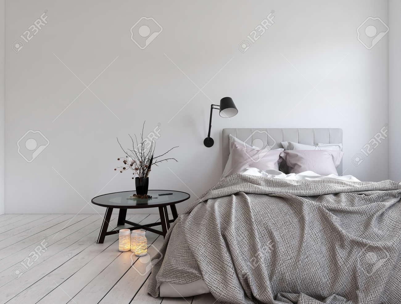 3d Render Von Unmade Bett Im Zimmer Mit Leeren Wand Und Kerzen Auf