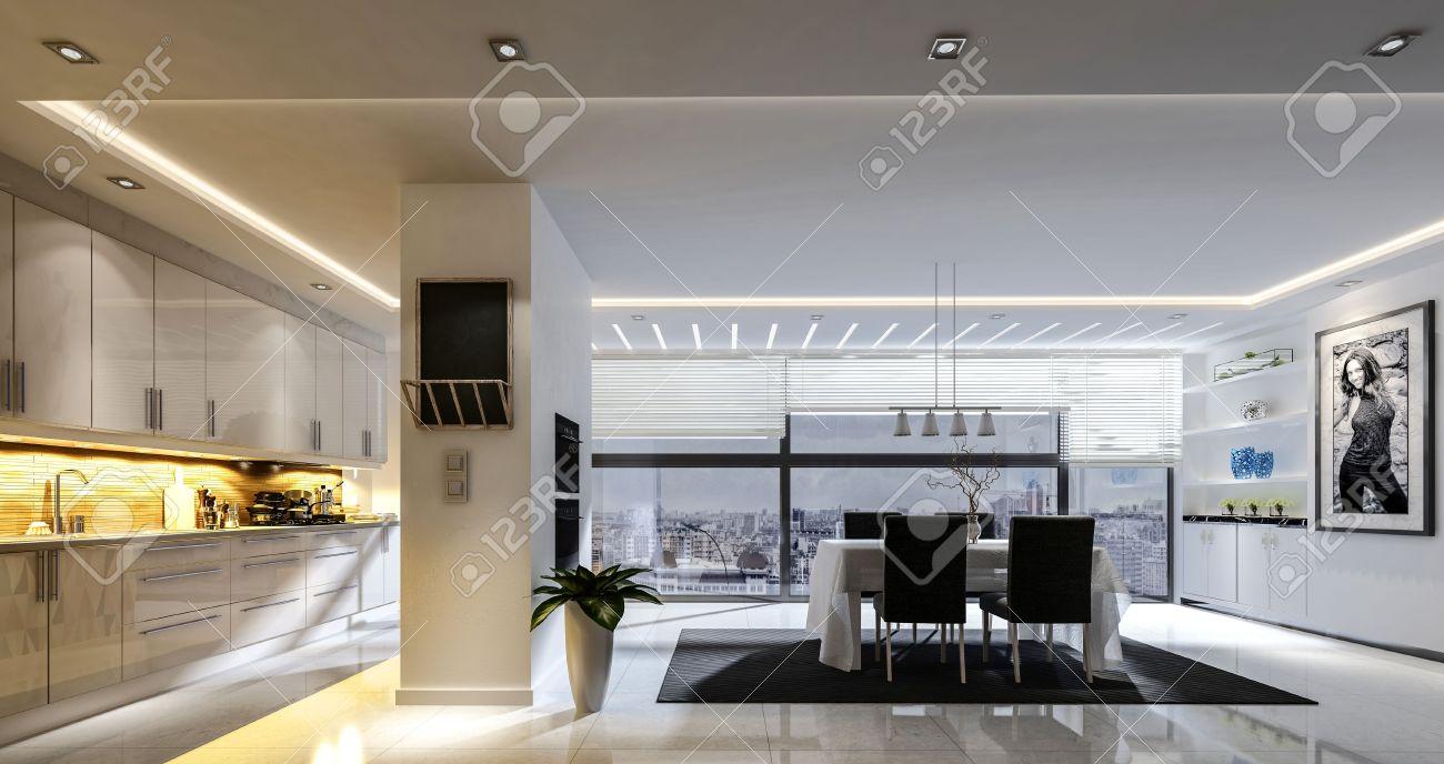 Representación 3D de amplia cocina comedor combinado con la iluminación de  la pista y el suelo de baldosas blancas