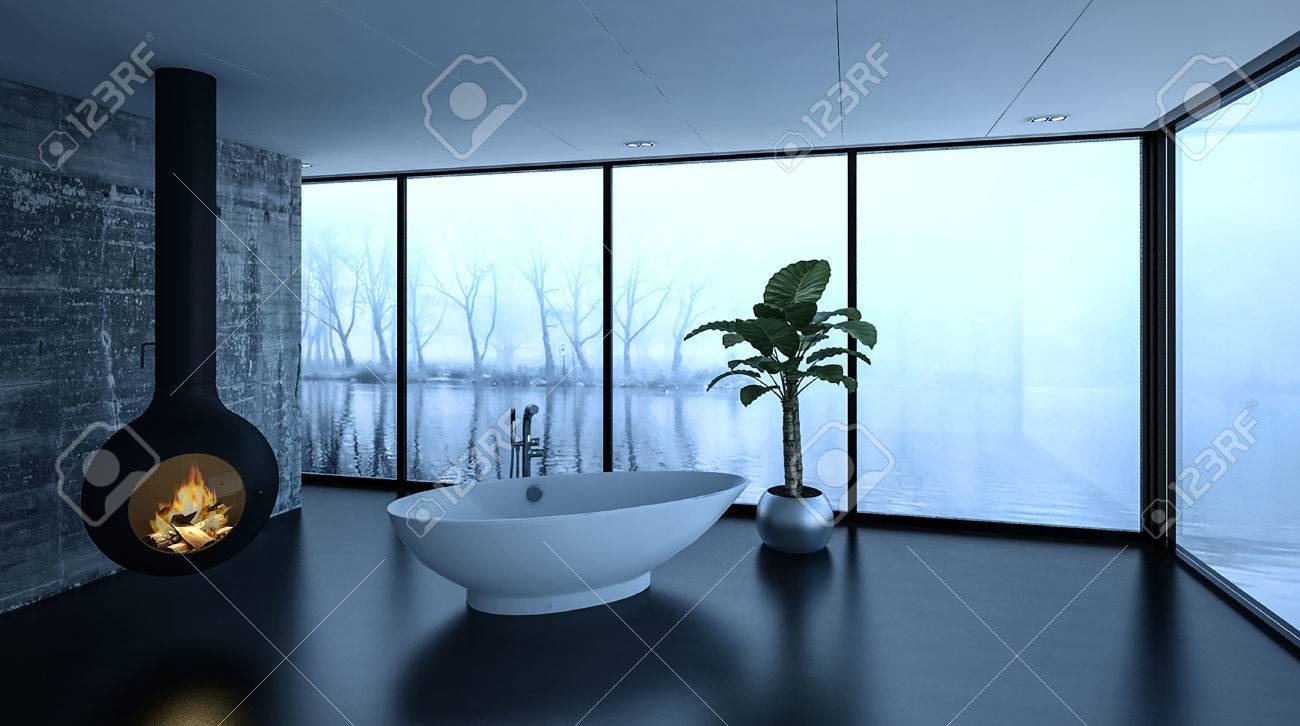 Cozy Modern Bathroom In Winter With A Freestanding Bathtub Alongside ...