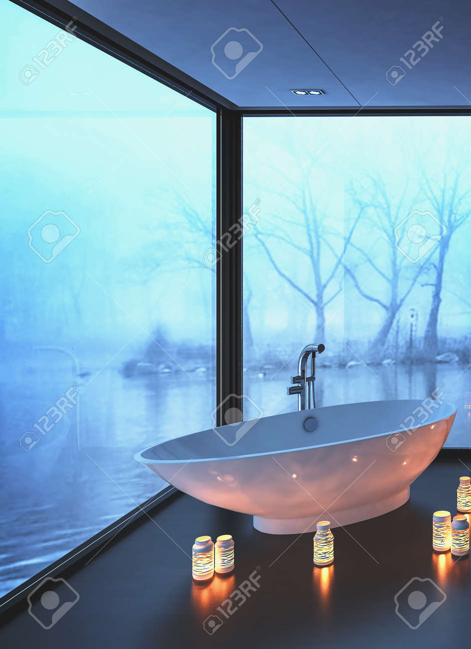 Warm Cozy Modern Bathroom With Glowing Candles Surrounding A.. Stock ...