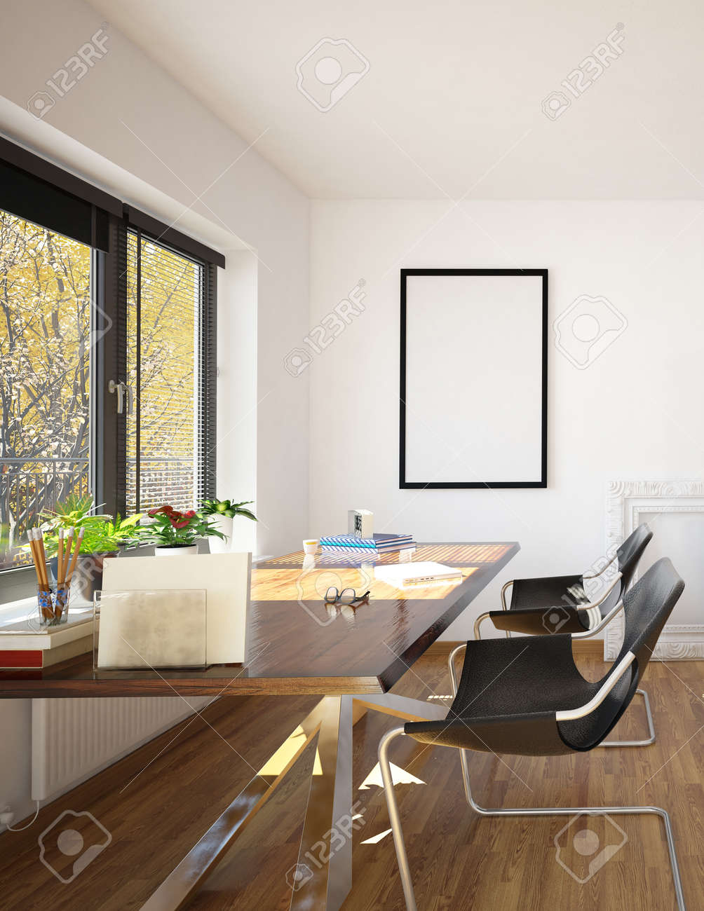 3D-Rendering Von Büroschreibtisch Und Stühlen Mit Blick Auf Fenster ...