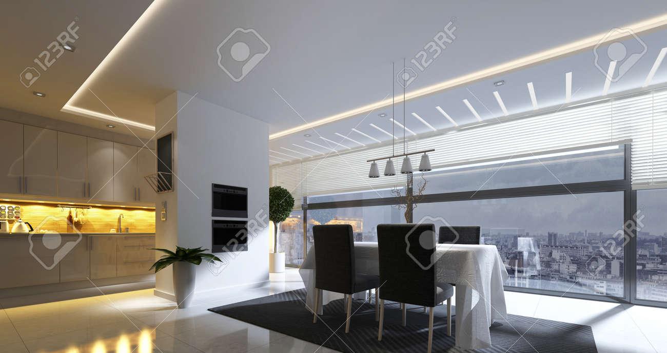 Representación 3D de comedor moderno con la lámpara de techo y zona de  cocina cercana en espaciosa casa de apartamentos