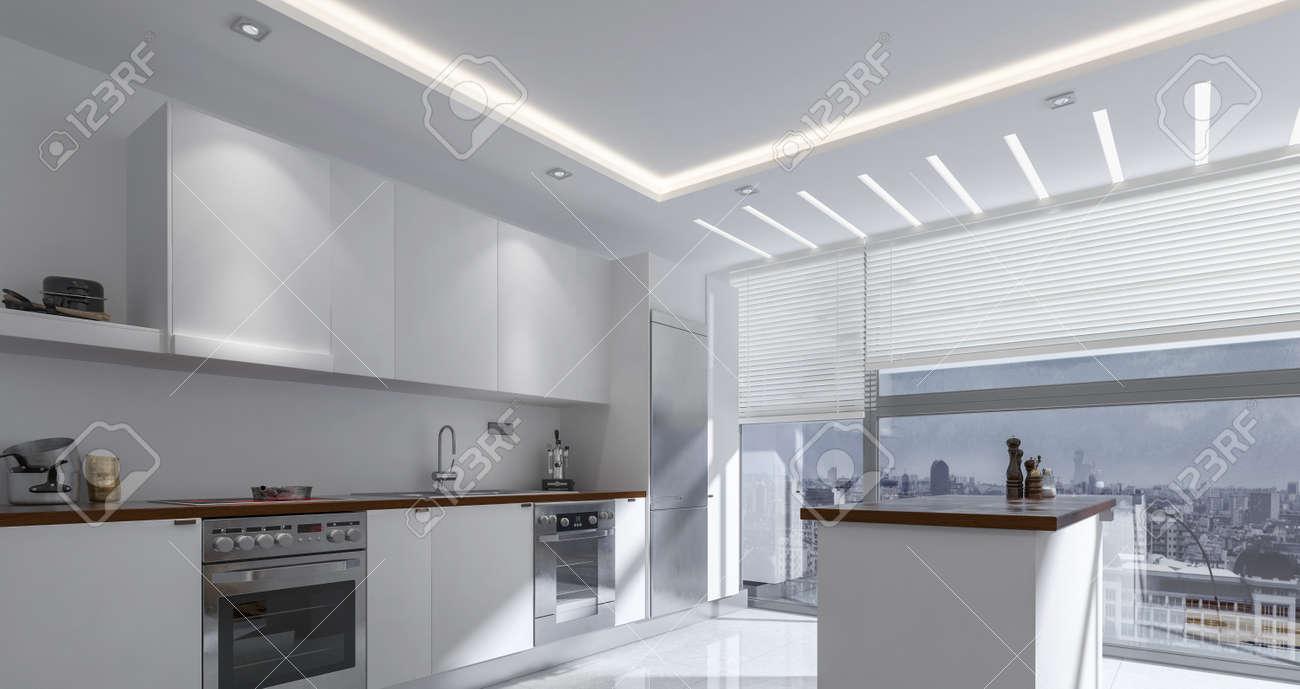 Armarios De Lujo. Interior De La Cocina En La Casa De Lujo Con Isla ...
