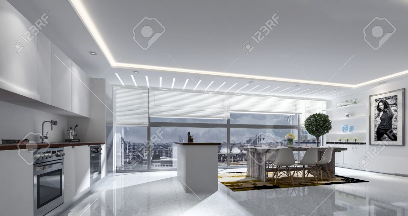 3D Rendering Of Large Kitchen And Table With Blinds On Large.. Stock ...