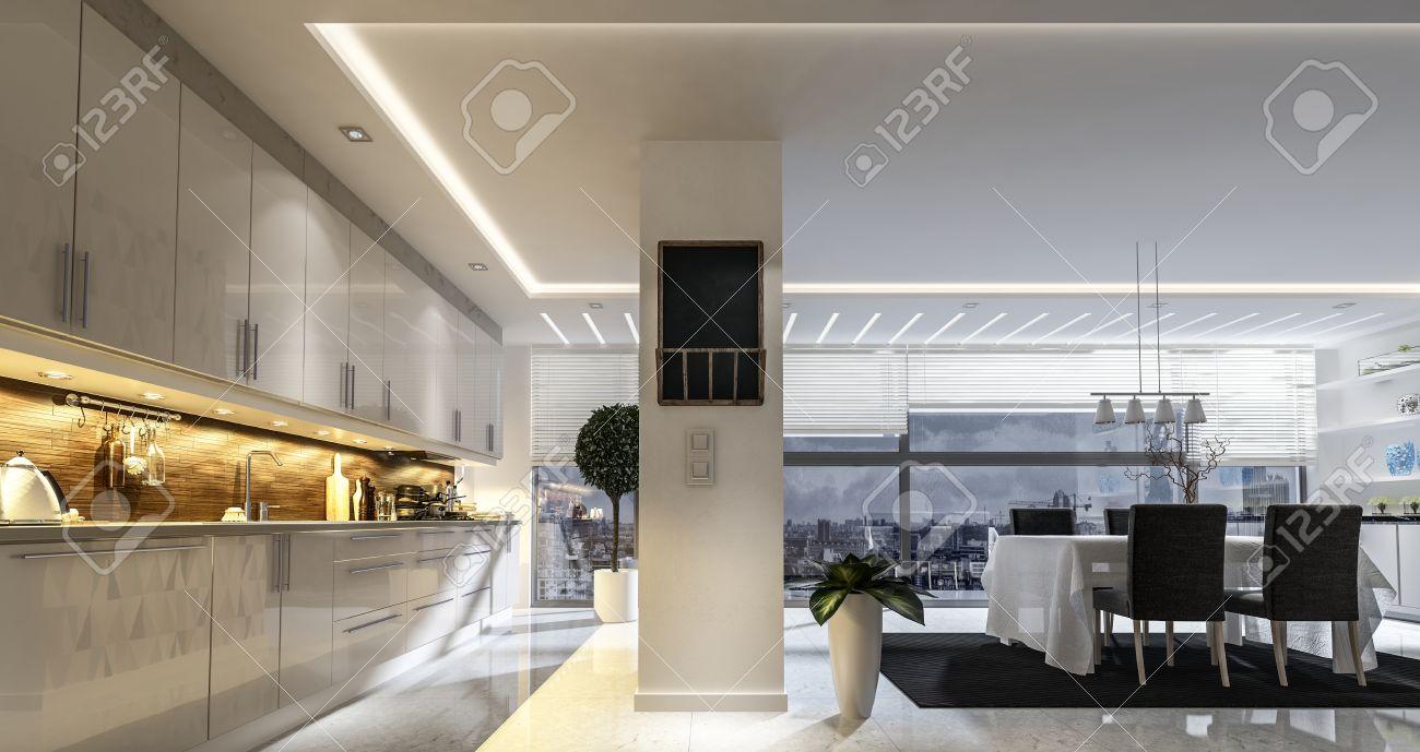 Große, Geräumige Offene Moderne Und Stilvolle Küche Und Esszimmer ...