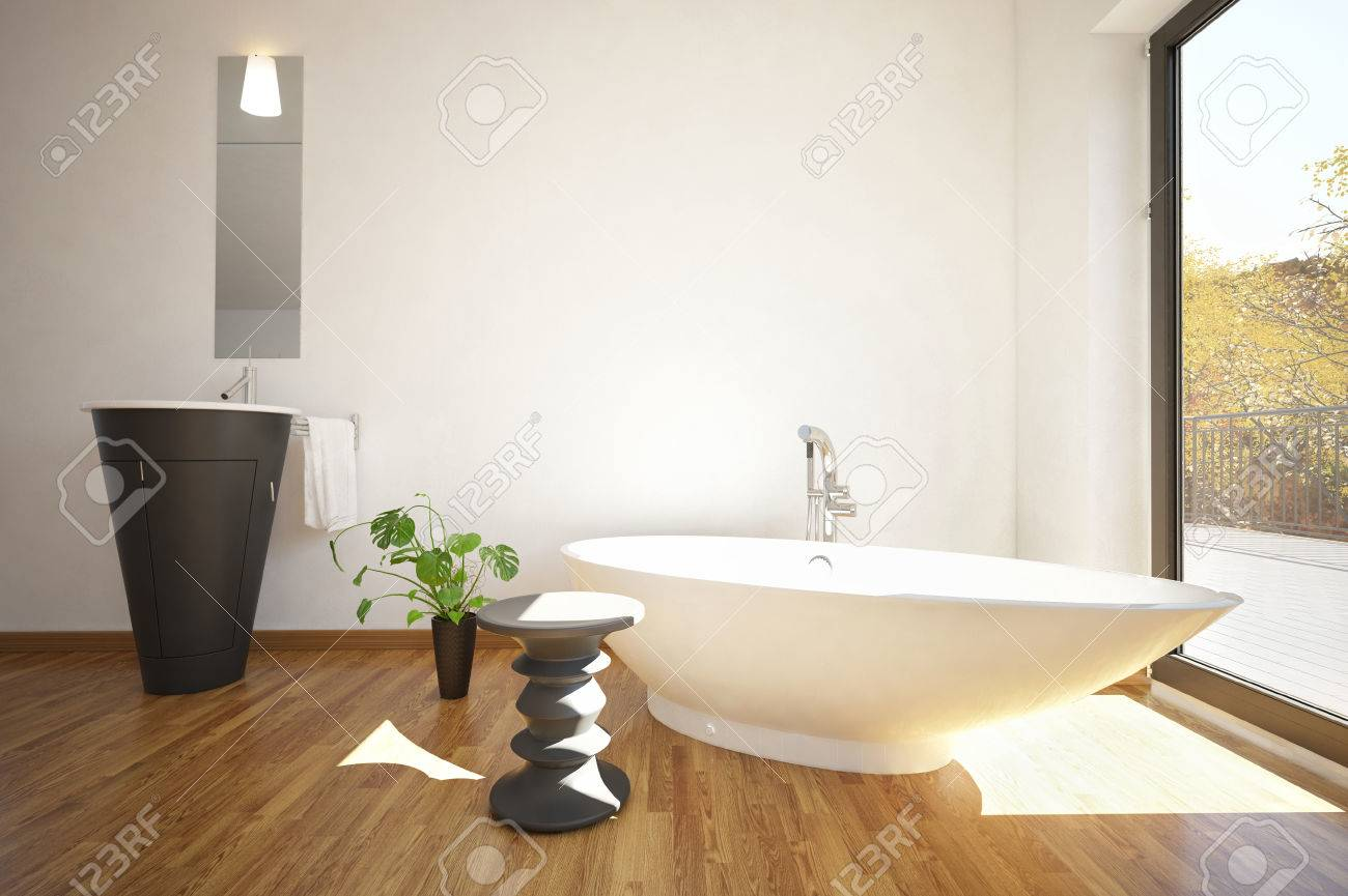 3D Rendering Of Fancy Bathtub In Front Of Large Window With Sink ...