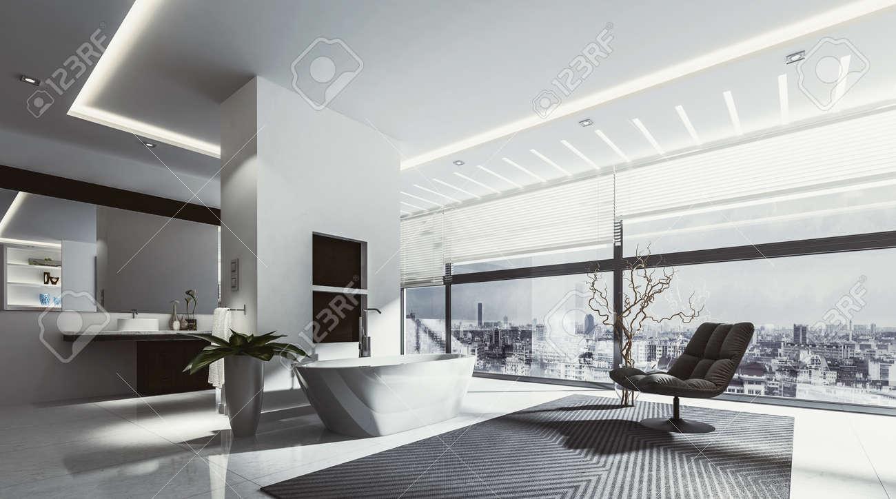 Gran cuarto de baño amplio con bañera y una silla rodeada de iluminación de  la pista y ventanas grandes. representación 3D