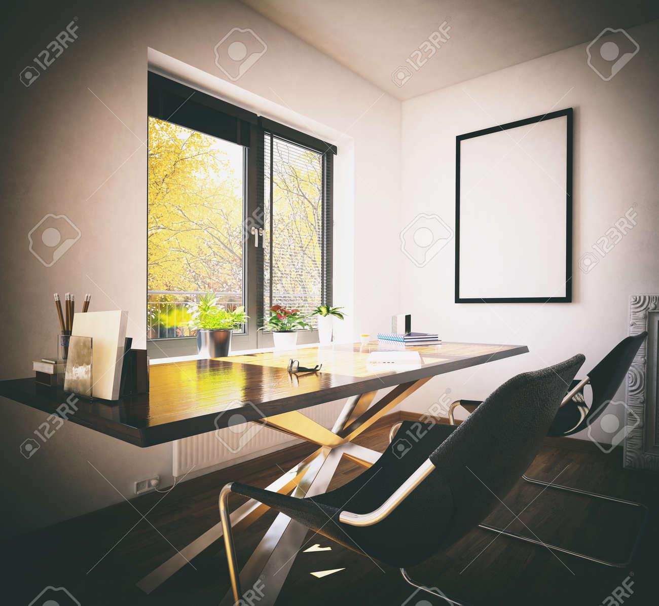 3D-Rendering Von Schreibtisch Und Stühlen Vor Fenster Im Frühjahr ...