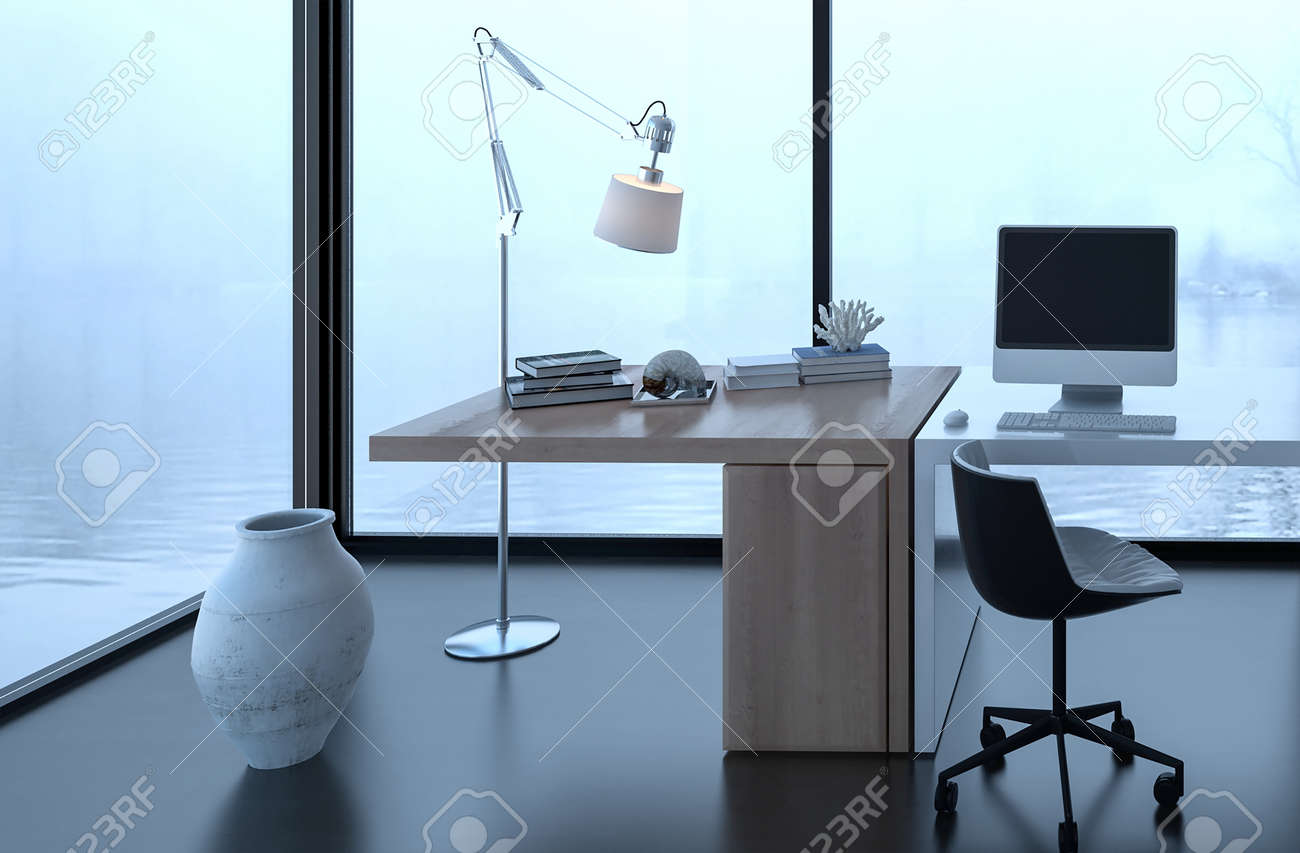floor lamp office. 3D Rendering Of Vase And Floor Lamp Near Desk In Office Surrounded By Fog Water