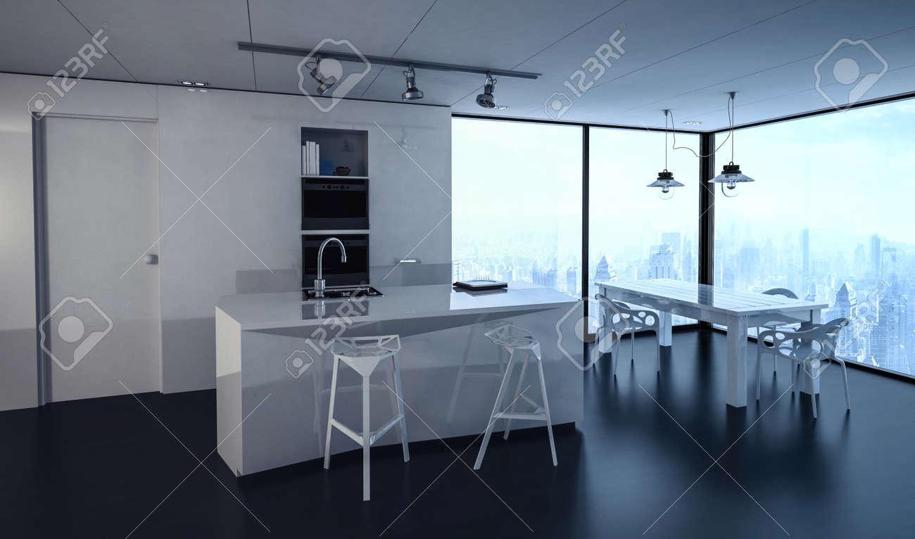 Immagini stock 3d ha reso interno della cucina condominio con