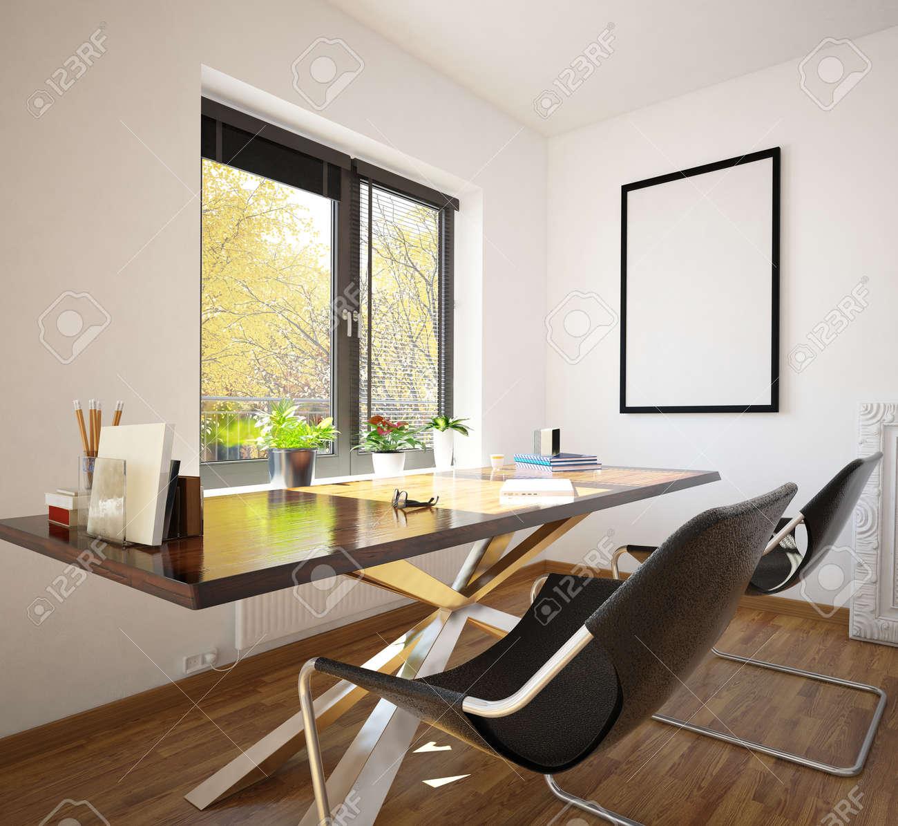 Modern office de maison soignée décoration intérieure avec deux chaises  modulaires contemporaines et une table en face d\'une fenêtre donnant sur un  ...