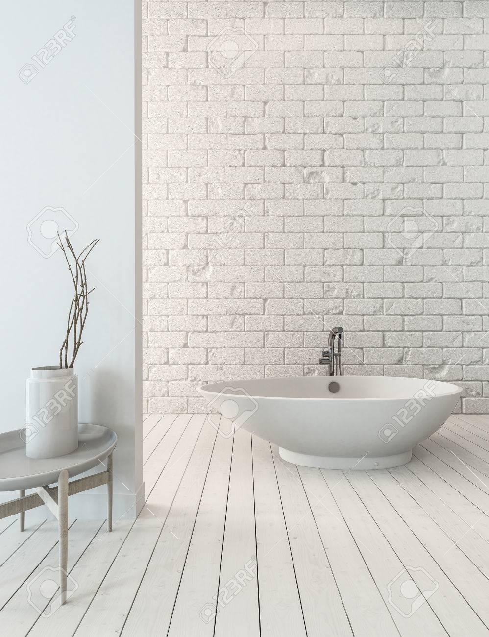 Rendu 3D De La Baignoire Fantaisie Sur Le Plancher Planche En Bois Evier A Cote Dans Une Salle Bains Simple Luxe Avec Mur Briques Blanches
