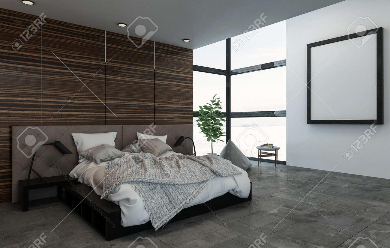 3D rendu scène intérieure d\'un grand lit avec des tables de nuit dans une  chambre chic. Cadre carré sur le mur près de la fenêtre.