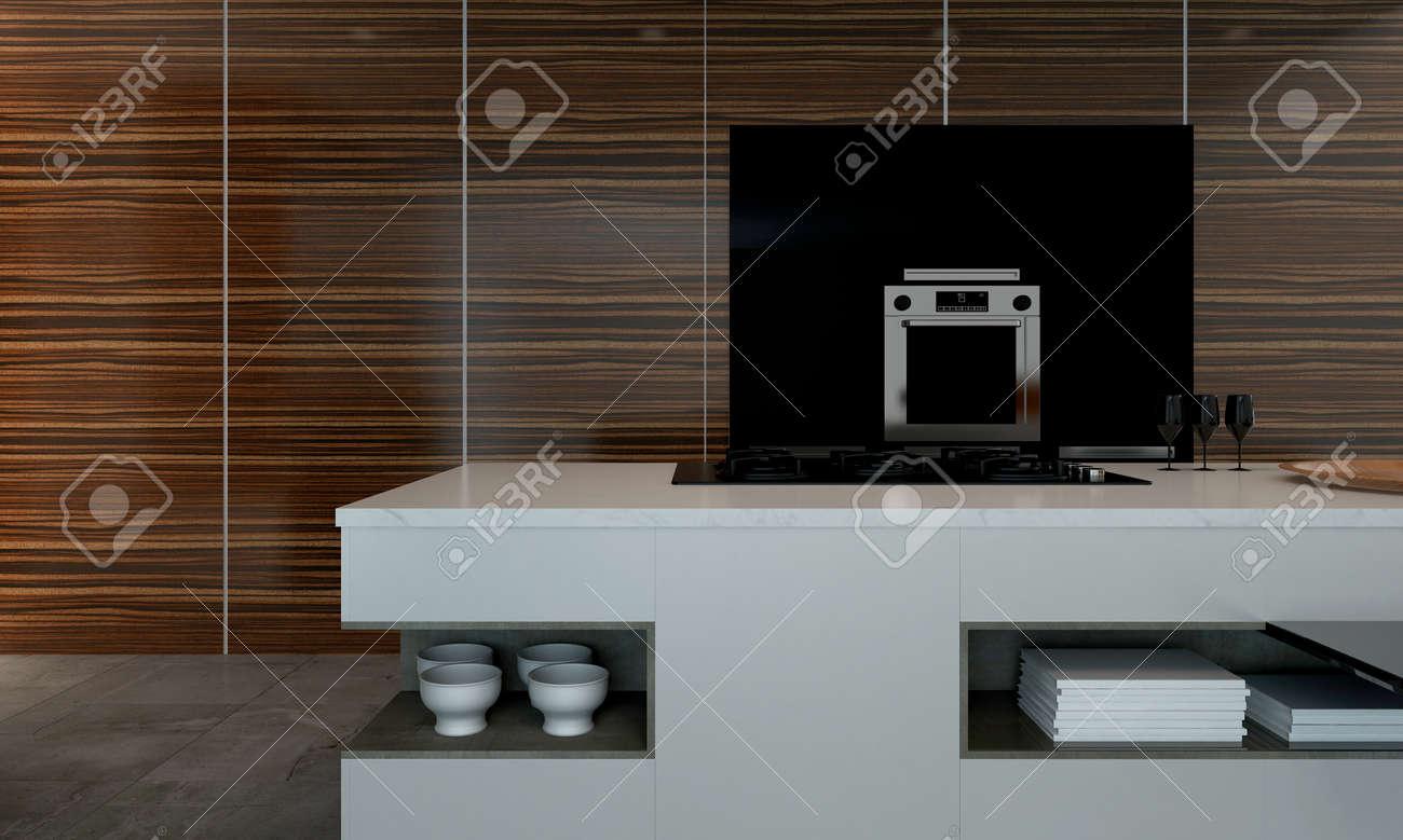 Representación 3D De La Encimera De La Cocina Con Las Pilas De ...