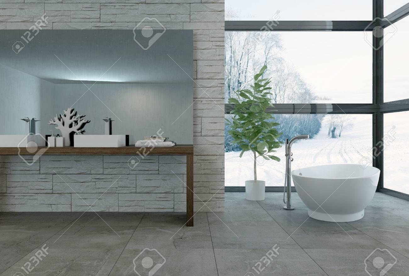 3d Rendering Von Badewanne Grosse Fenster In Luxus Badezimmer Mit