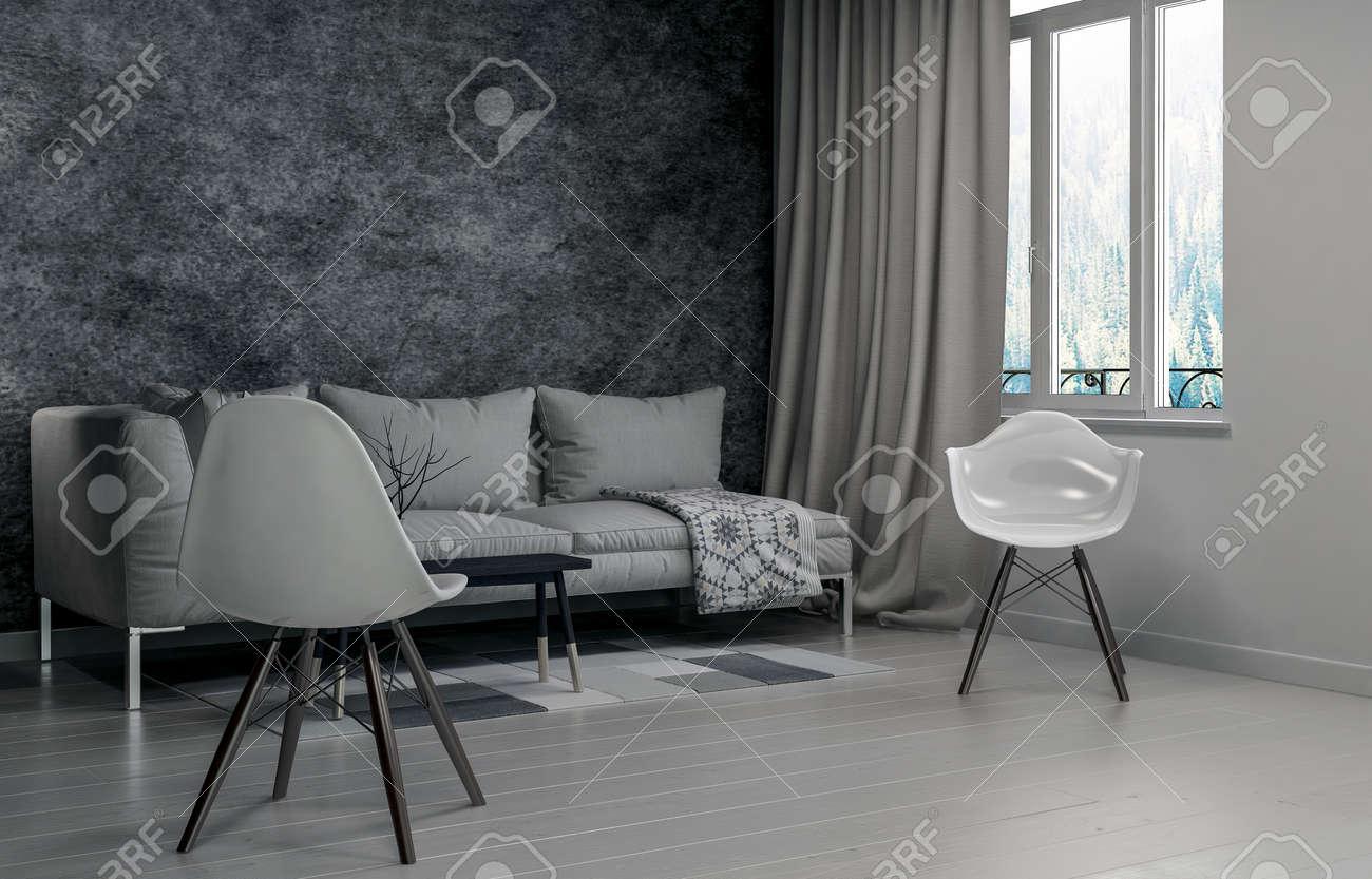 banque dimages vide salle de sjour avec une seule chaise ct de la fentre avec des rideaux tirs sur le ct rendu 3d - Chaise Sejour