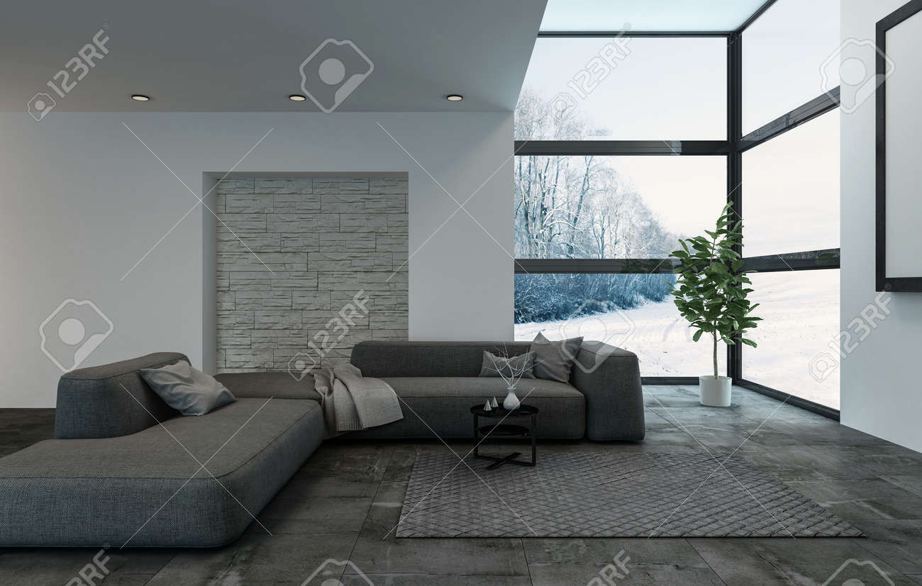 Luxury dark blue modular sofa in living room with windows and carpet. Large houseplant at outside corner. 3d Rendering. - 65800176