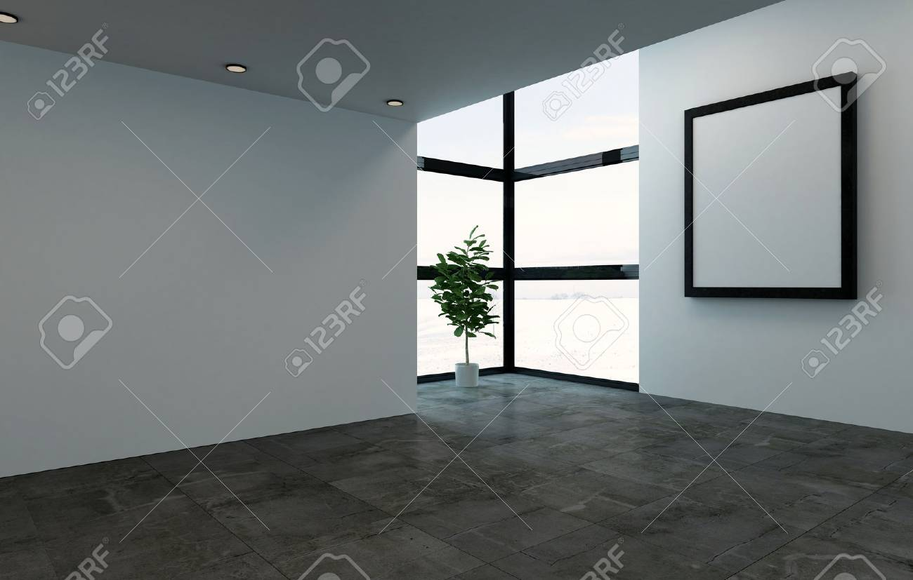 3D rendering interior scene of empty room with large square picture frame and bright windows. Single large houseplant tree in corner. - 65800305