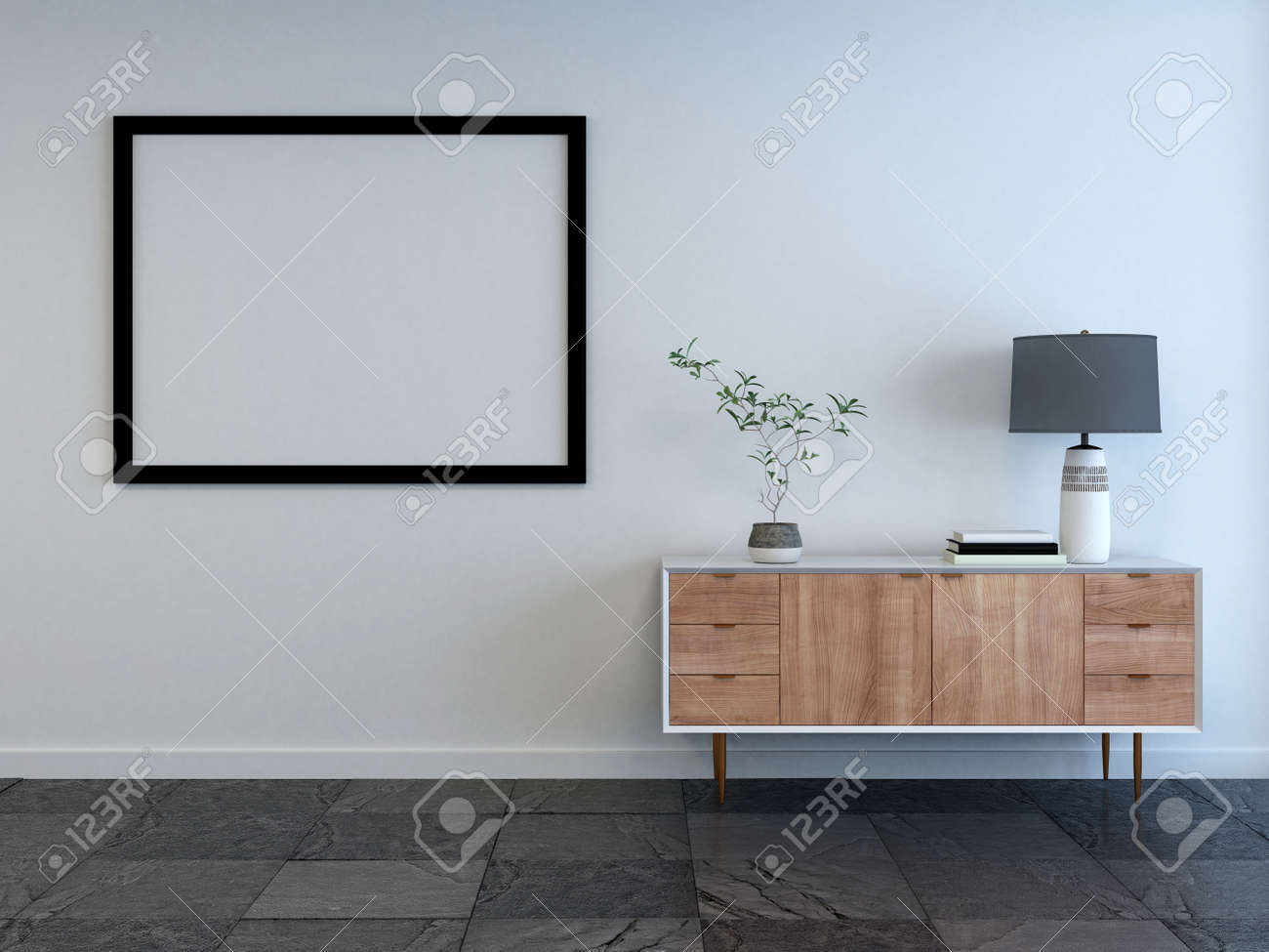 3d rendered mockup of a living room interior with empty picture frame on the wall and small wooden cabinet with lamp on a white wall Standard-Bild - 65800321