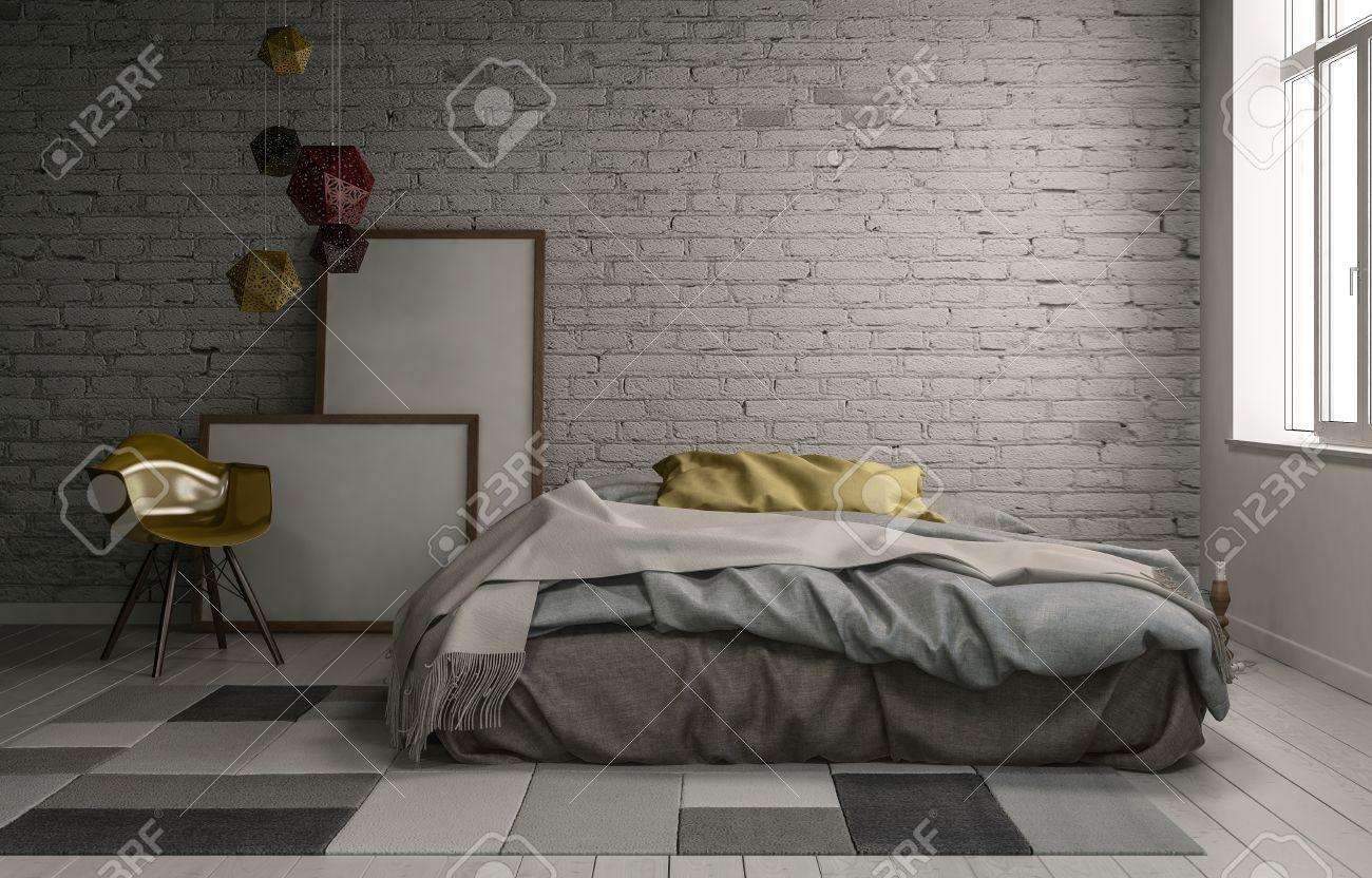 3D Escena Interior De La Cama Sin Hacer Con Marcos De Cuadros Vacíos ...