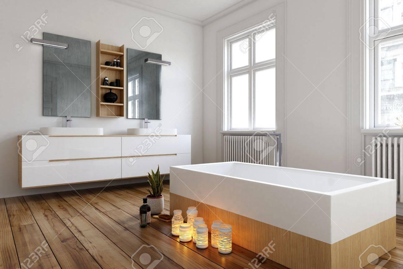 Réglage avec des bougies allumées à côté d\'une baignoire rectangulaire  moderne dans une grande chambre spacieuse et lumineuse avec des radiateurs  et ...
