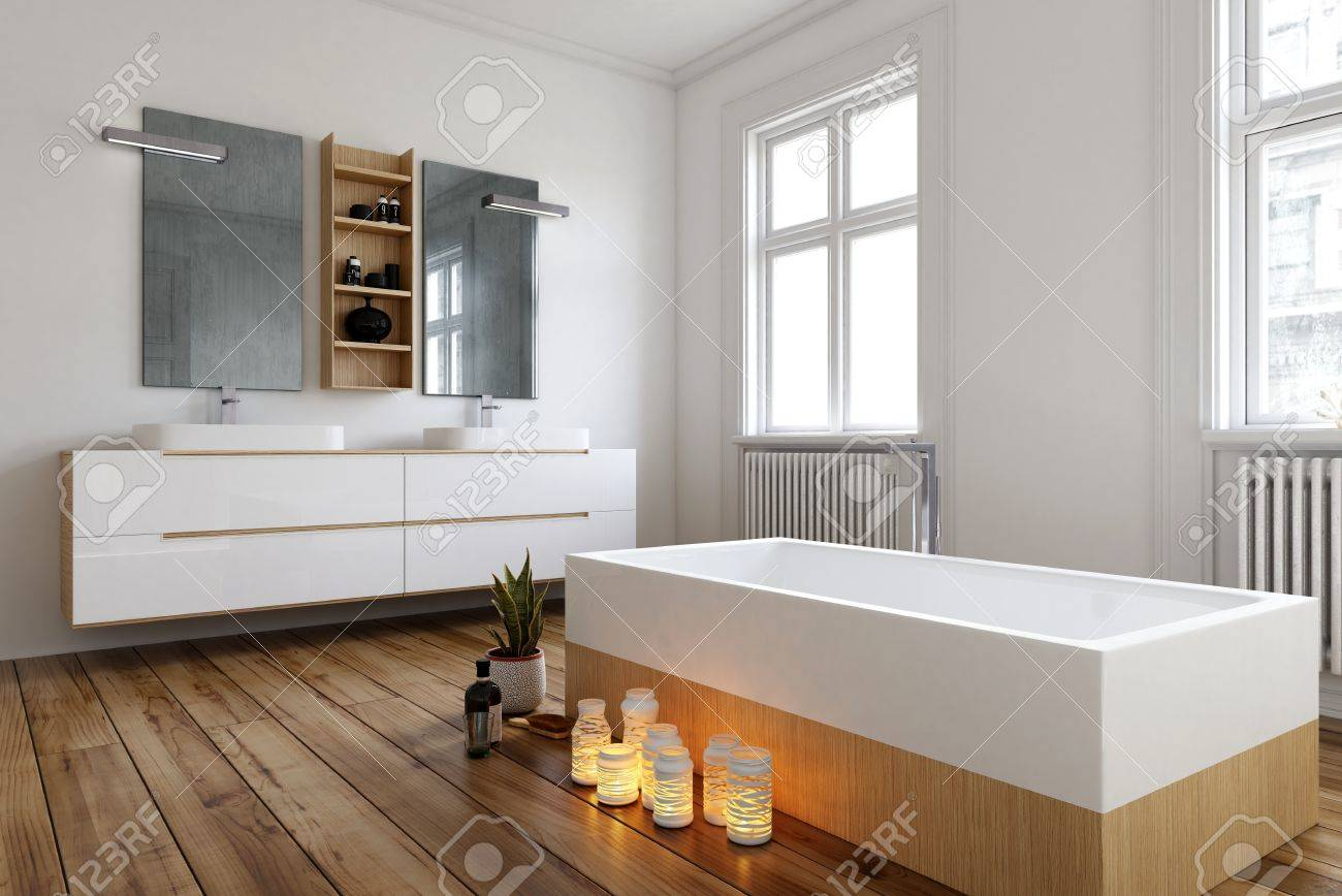 Romantic Bathroom Setting With Burning Candles Alongside A Modern ...