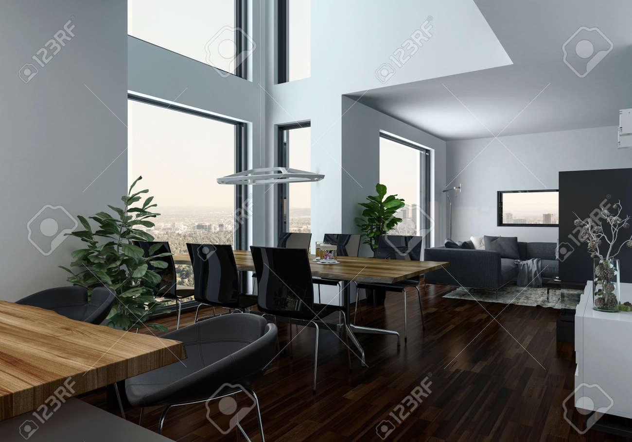 Design moderno salone interno con un tavolo da pranzo in una orial con  galleria balcone, pavimento in parquet in legno e grandi finestre.  Rendering ...