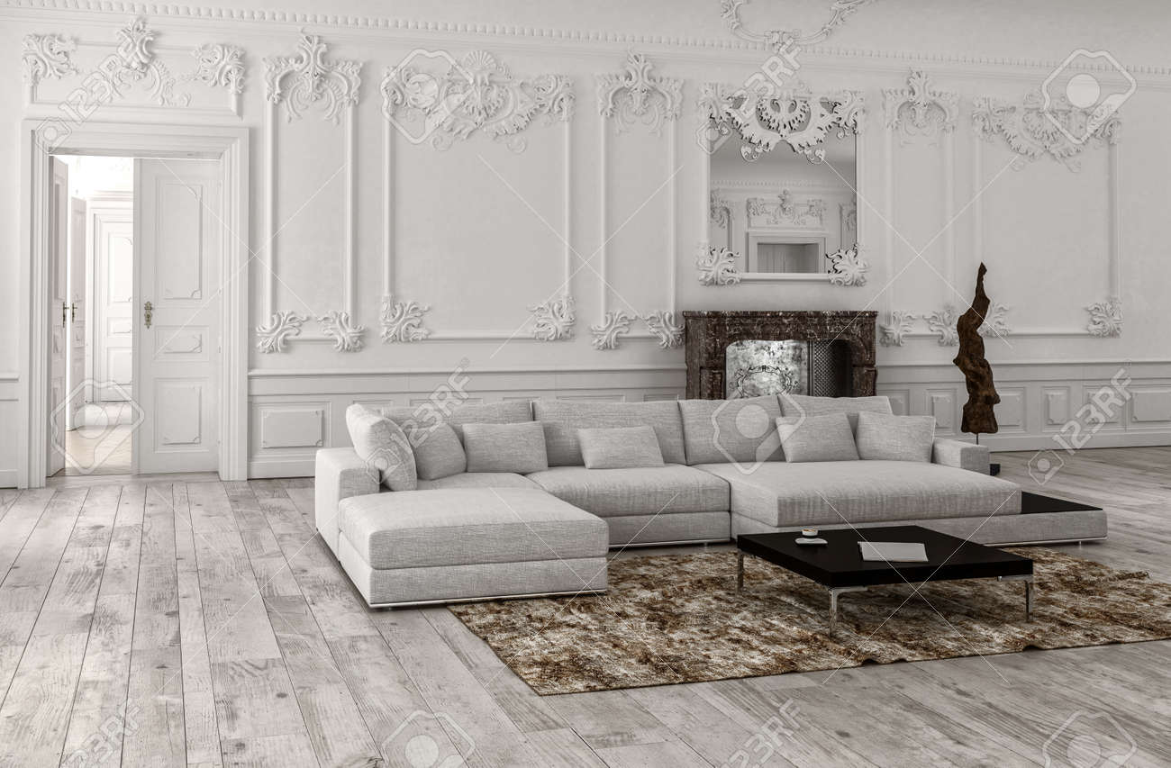 Neutral Monochrome White Classical Living Room Interior With.. Stock ...