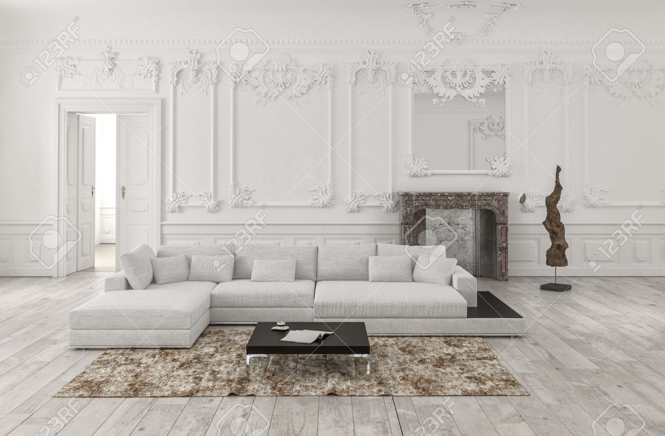 Classical White 3d Rendered Monochrome Living Room Interior With Wainscoting  And Wood Panelling On The Walls